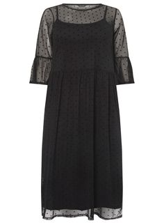 d1dae37d941 Black Spot Mesh Flute Sleeve Dress - Dresses - Clothing