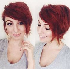 Asymmetrical Red Pixie Cuts