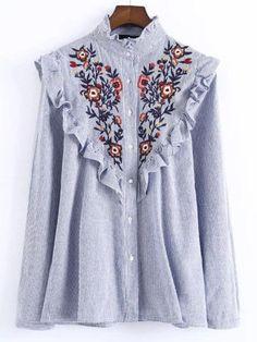 Blusa a rayas con bordado floral y volantes - azul