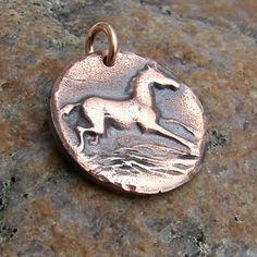 Copper Happy Horse Pendant, running horse, antiqued copper, Rustic Horse Jewelry $16.00