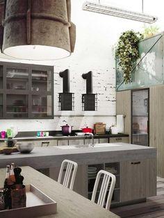 italian kitchen design in loft style