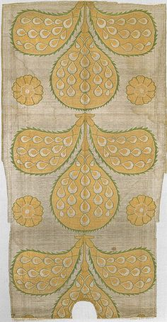 """Fragment of a kaftan back, Ottoman period (ca. 1299–1923), mid-16th century Turkey, probably Istanbul Silk, metal-wrapped thread; taqueté (seraser); L. 52 in. (132.1 cm), W. 27 in. (68.6 cm) Purchase, Joseph Pulitzer Bequest, 1952 (52.20.15) The Metropolitan Museum of Art. The Age of Süleyman """"the Magnificent"""" (r. 1520–1566)"""
