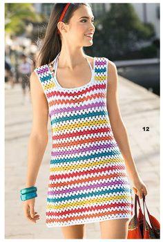 Ivelise Feito à Mão: Vestido Colorido De Crochê