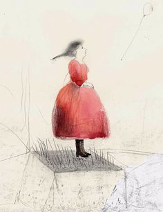 Girl in a Red Dress original illustration figurative by marina826