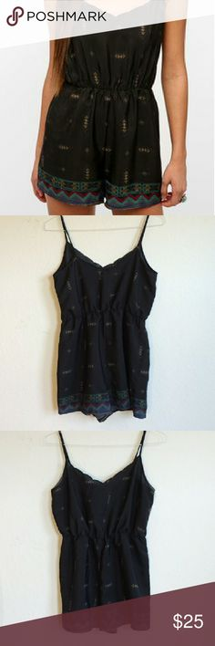 Urban Outfitters Black Diamond Border Romper In great condition! Purchased at urban outfitters. Fabric has no stretch, elastic waistband, adjustable straps. Size medium Staring at Stars Pants Jumpsuits & Rompers