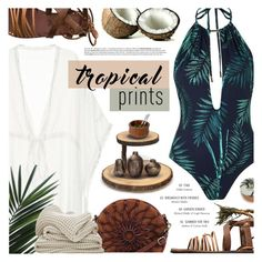 """Tropical Vibes"" by noviii ❤ liked on Polyvore featuring Topshop, Free People, Jenny Bird, Lipper, Nambé, Creative Co-op, Avenue, Urban Decay, tropicalprints and hottropics"