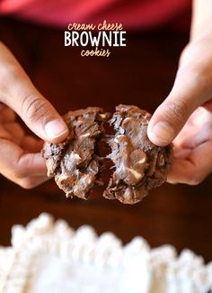 Cream Cheese Brownie Cookies simple fudgy cookies made with brownie mix, egg, cream cheese, butter & white chips. Brownie Cookies, Cookie Desserts, Yummy Cookies, Chocolate Desserts, Just Desserts, Cookie Recipes, Delicious Desserts, Dessert Recipes, Yummy Food