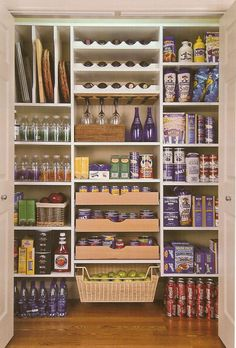 Walk in Pantry Storage Idea, I like the baking sheet slots and wine rack!