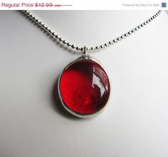 50% off sale Cancer, Ruby, Dark Red, Silver, Birthstone Charm Necklace, July Birthday, Stained Glass Pendant, Handmade Jewelry