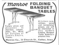 Monroe Folding Banquet Tables 1956 Ad Picture