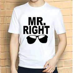 Funny Letters Couple T Shirt Summer Fahsion White Unisex T Shirt Cotton Mr Right Mrs Always Right Glasses Red Lip Mrs Always Right, Mr Right, Couple Presents, Funny Letters, Best Online Shopping Sites, Relationship Gifts, Thing 1, Matches Fashion, Couple Shirts