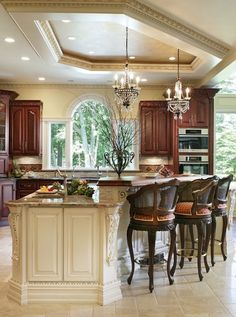 Love this kitchen! Island, bar stools, & ceiling ~ Whole House Renovation - traditional - kitchen - new york - by Creative Design Construction, Inc. Decor, Traditional Kitchen Design, Beautiful Kitchens, House Design, Dream Kitchen, Kitchen New York, Kitchen Remodel, House Interior, Sweet Home