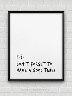 Look Over This printable 'have a good time' poster // inspirational instant download print // black and white typographic home decor // modern print  The post  printable 'have a good time' p ..