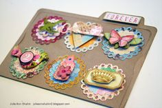 Inspiration for Generation C 2.00: Scrapbooking Embellishments for the Counterfeit Kit Challenge August Guest Designer  cute way to store made embellishments use my  card catalog and index cards to store by color or scheme
