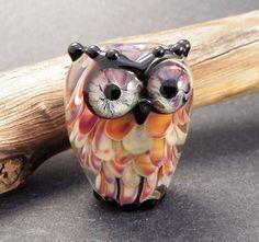 Earth Toned Rustic Owl  Handmade Lampwork by PeggySudzLampwork, $47.00