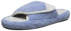 Isotoner Womens Microterry Spa Slide Slipper Blue Moon XSmall556 M US -- See this awesome image