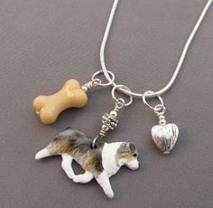 Australian Shepherd Dog Charm Necklace Bone Silver Heart - Handmade and one of a kind at For Love of a Dog