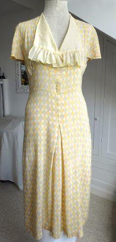 1930s Summer Dress S - Delicate cotton print - Frill collar   eBay