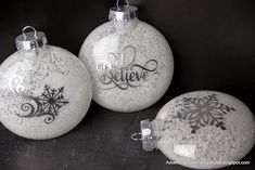 Adventures in all things food: Simple Handmade Ornaments Plastic or glass ornaments, I prefer the flatter style, but either will work. Mod Podge Water Epsom Salt Silhouette Silver Foil Cut file of choice for a word, phrase or snowflake Silhouette Cameo