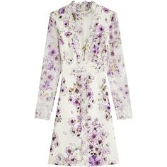 Giambattista Valli Printed Silk Dress (€2.309) ❤ liked on Polyvore featuring dresses, florals, floral pattern dress, white floral print dress, silk floral dress, silk dress and white floral dress