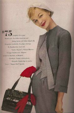 1957 Handmacher gray suit with brown & white stripe dickey-waistcoat & lining; Buchner alligator hand bag