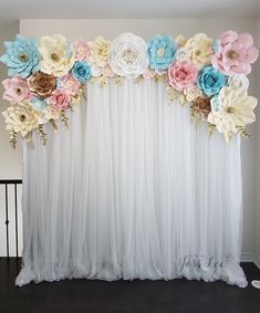 Baby shower backdrop for a gender reveal. Blue, pink, ivory, white, and gold theme.