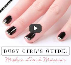 cute glittery french manicure video tutorial // click pin to watch full tutorial