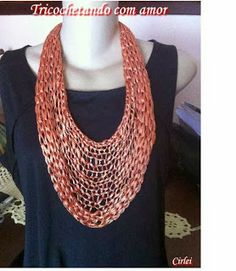 Tricochetando com amor: Colar Neoné Wire Crafts, Textiles, Love Crochet, Knitting Patterns, Crochet Necklace, Fabric, Jewelry, Crocheting, Fashion