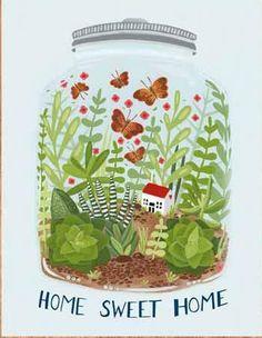 stephanie chambers home sweet home Illustration Art Drawing, House Illustration, Illustrations, Art Drawings, Lilla Rogers, Pots, Jar Art, The Bell Jar, Botanical Art