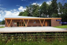 Built by Projektstudio in Čeladná, Czech Republic with date Images by Jan Šafář. At the time when Anton Dachler, an architect of the Emperor Ferdinand North Railway construction office in Vienna, cr. Space Architecture, Contemporary Architecture, Bike Shelter, Roof Shapes, Brick And Stone, Brickwork, Jpg, Wooden Blocks, Train Station