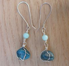 Blue Apatite and Amazonite Dangle Earrings - Hand Hammered Sterling Silver Hooks - One of a Kind by PrimalPulseDesigns on Etsy
