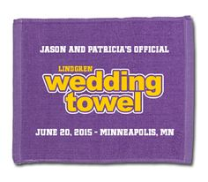 Minnesota Vikings fans love our 2-Color imprint silkscreened wedding towels.  They make great custom designed guest favors for your football themed wedding!  #footballwedding  #stwdotcom
