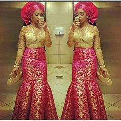 Pink and gold wedding dresses ~African fashion, Ankara, kitenge, African women dresses, African prints, African men's fashion, Nigerian style, Ghanaian fashion ~DKK