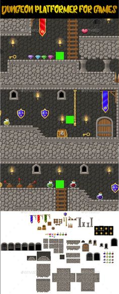 Dungeon Platformer Set for 2d Games Download here: https://graphicriver.net/item/dungeon-platformer-set-for-2d-games/16474179?ref=KlitVogli