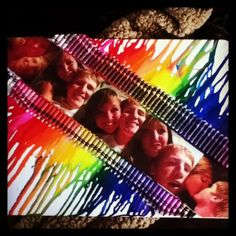 Crayon canvas with pictures in the middle! Finally made one and I love it! :)