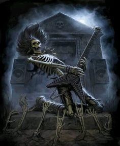 awesome poster art for goth rock , metal or rock music lovers skeleton rock god , great to use on invitation for halloween gig , concert or raging party too Rock n' Roll Arte Heavy Metal, Metal Art, Skeleton Art, Skeleton Photo, Arte Horror, Guitar Art, Thrash Metal, Blues Rock, Grim Reaper