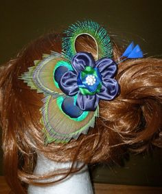 Satin flower peacock feather hair piece by DressMyWedding on Etsy, $27.00