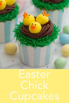 These EASY Easter chick cupcakes from. Preppy Kitchen are so fun to make and totally delicious! The cupcakes themselves are moist vanilla with a hit of lemon and theyre so good you might add them to your dessert rotation! Easter Bunny Cupcakes, Easter Cookies, Fun Cupcakes, Easter Treats, Easter Cup Cakes Ideas, Easter Cake Videos, Spring Cupcakes, Mocha Cupcakes, Spring Cake