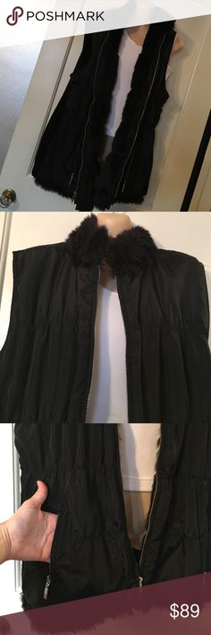 NWOT Fur Lined Vest New, never worn. Chicos size 3, which is size 16 in traditional sizes. Extra comfortable, extremely warm and very flattering on!!! Outside shell is 100% polyester. Faux Fur is 51% polyester & 49% acrylic. The knit backing is 99% acrylic & 1% Wool. Message if you have any questions or want more pics! Chico's Jackets & Coats Vests