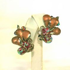 """Frosted Peachy Pink Pears & Pink Aurora Borealis Rhinestones Vintage Clip Earrings.  A heavenly pair of vintage frosted glass peachy pink pears and Aurora Borealis rhinestones in layers in this earrings for sale at the """"Vintage Jewelry Stars"""" shop at http://www.rubylane.com/shop/vintagejewelrystars!!"""