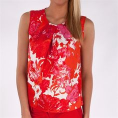 Jones New York Collection Printed Blouse with Pleated Neckline #VonMaur #JonesNewYork #Floral #Sleeveless