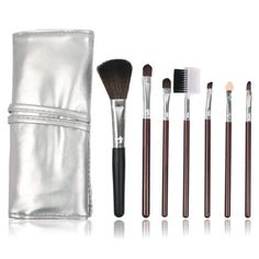 7pcs Set Professional Makeup Brush Natural Hair Pu Leather Brown