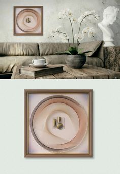 "PalePeach Wall Decor, 3D Modern Abstract String Art, Framed 12,6""x12,6"" (32x32cm), ready to hang - pinned by pin4etsy.com"