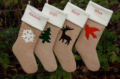 Six Burlap Christmas Stockings Custom Colors by EverydayGraces