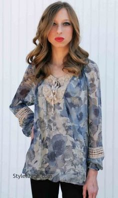 Lila Ladies Silk Blouse In Floral And Cream