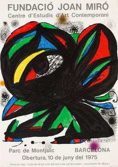 1975, Litografia. Realitzat amb motiu de l'obertura de la Fundació Joan Miró de Barcelona el 10 de juny de 1975. Joan Miro, Retro Poster, Vintage Posters, Print Poster, Modern Posters, Barcelona, Spanish Painters, Exhibition Poster, Equine Art