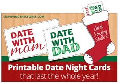 The best stocking stuffer idea for kids!!  Print out date night cards to put in their stockings for dates with mom and dad throughout the year!