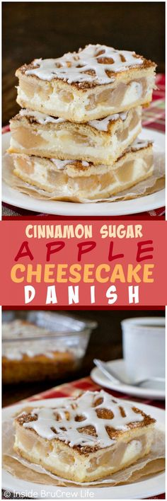 Cinnamon Sugar Apple Cheesecake Danish - the sugar coating gives a sweet crunch to the creamy cheesecake & apple chunks. Great breakfast or dessert recipe! Easy Desserts, Delicious Desserts, Dessert Recipes, Yummy Food, Bar Recipes, Donut Recipes, Dessert Ideas, Recipies, Apple Cheesecake