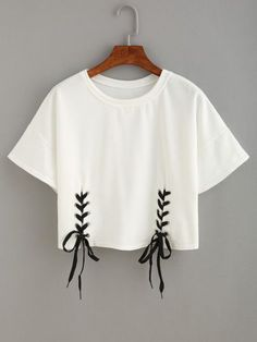 Shop Double Lace-Up Hem Crop T-shirt online. SheIn offers Double Lace-Up Hem Cro - French Shirt - Ideas of French Shirt - Shop Double Lace-Up Hem Crop T-shirt online. SheIn offers Double Lace-Up Hem Crop T-shirt & more to fit your fashionable needs. Crop Top Outfits, Crop Top And Shorts, T Shirt And Shorts, T Shirt Diy, Mode Outfits, Crop Shirt, Trendy Outfits, Shirt Outfit, Shirt Blouses