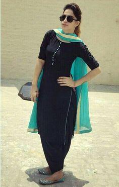 Punjabi suits Find out about the best Latest Elegant Punjabi Suit and Designer ladies Punjabi Suit then Click VISIT link to see Black Punjabi Suit, Punjabi Suit Simple, Black Patiala Suit, Salwar Suits Simple, Punjabi Dress, Punjabi Girls, Simple Anarkali, Anarkali Dress, Patiala Suit Designs